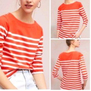 Maeve Anthro Bonnie Boatneck Orange Striped Top XS